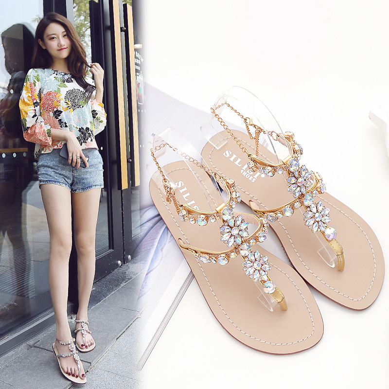 b04a9f9ff3a63a XingDeng Women Bohemia Crystal Stone T Strap Flat Sandals Shoes Ladies  Party Colorful Chain Summer Sexy Sandal Shoes 36 43 Size-in Women s Sandals  from ...