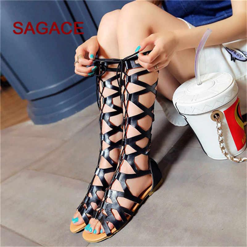 SAGACE Kadın Sandalet Moda Rahat Daireler Diz Yüksek Çizmeler Roma Ayakkabı Sandalet 2019 Bayanlar Için Yaz Sandalet Sandalia Feminina