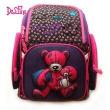 2017 Delune School Bags Children Burden Reducing School Backpacks Nylon Material 3D Bear Print Orthopedic Backpack For Girl