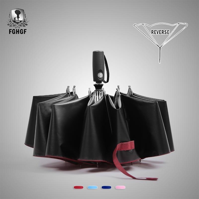 Fghgf творческий 10 ребра мода Перевернутый черное покрытие 3 Автоматический складной обратный зонтик солнечный автомобиль Для мужчин Зонты дождь Для женщин