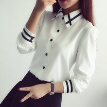 Blusas Ladies OL Elegant Women 2016 Autumn Korean Style Long Sleeve Sequin Chiffon Office Shirt White Blue Tops Formal