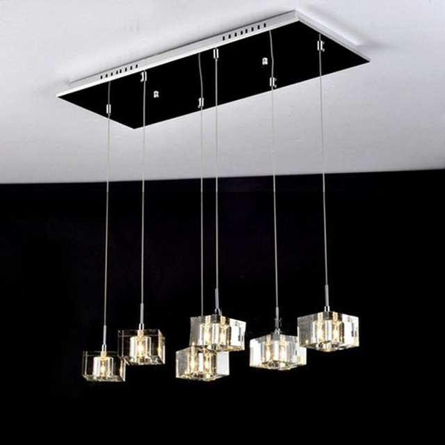 Crystal Pendant Lights Kitchen Chrome Lighting Rectangle Lamp Home Modern Led