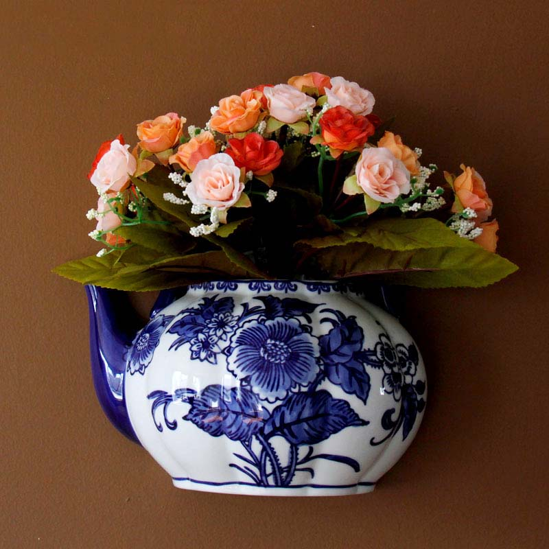 Teapot shape vase metope vase ceramic wall hanging flower receptacle teapot shape vase metope vase ceramic wall hanging flower receptacle jingdezhen blue and white porcelain flower vases in vases from home garden on mightylinksfo