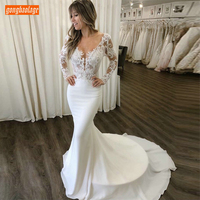 Sexy Chiffon Slim Fit Mermaid Wedding Gowns Long Sleeves Scoop Bride Dresses Chic Lace Appliques Sweep Train White Wedding Dress