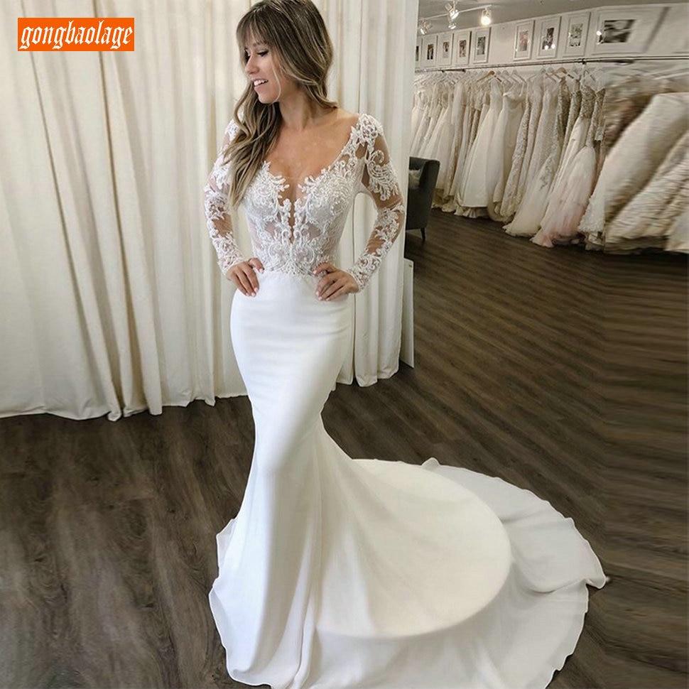 Vestido de Casamento Slim de Mangas Sereia Chiffon Compridas Renda Apliques Varredura Branco