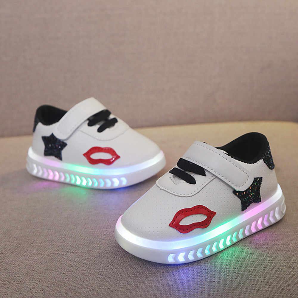 2c14cdd6f2 MUQGEW Rhinestone Led Shoes Princess Kids Baby Infant Toddler Girls Boys  Lightning LED Luminous Sport Shoes Sneakers for girls