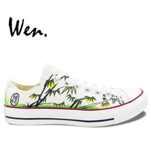 Wen Original Hand Painted Shoes Design Custom Chinoiserie Bamboo Men Women's Low Top White Canvas Sneakers for Gifts
