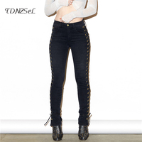 Sexy Side Bandage Jeans Slim Low Waist Skinny Pencil Pants Women Casual Cross Lace Up Hollow
