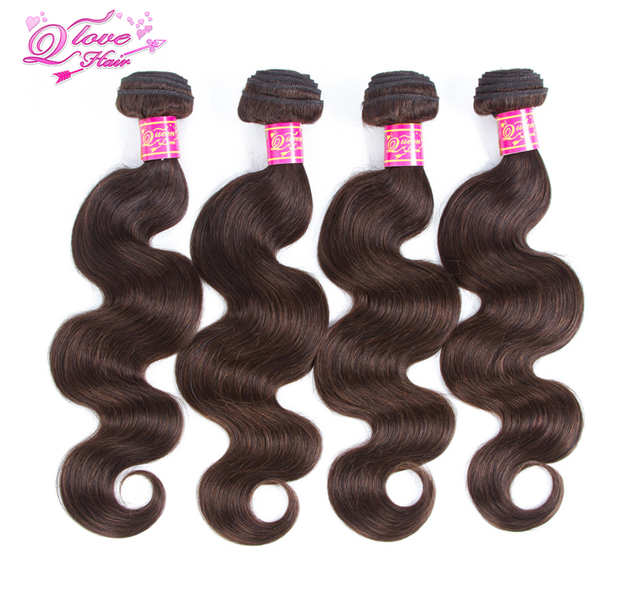 Queen Love Hair Peruvian Body Wave Hair Weave Bundles Human Hair Extension Pre-Coloed #2 Non-Remy Hair Free Shipping
