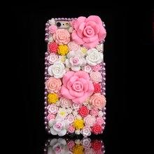 Luxo diy diamante 3d rosa rosas flores bling casos para iphone 12 mini 11 pro max xs max xr x 6s 8 7 plus 5 5S se 2020 fundas