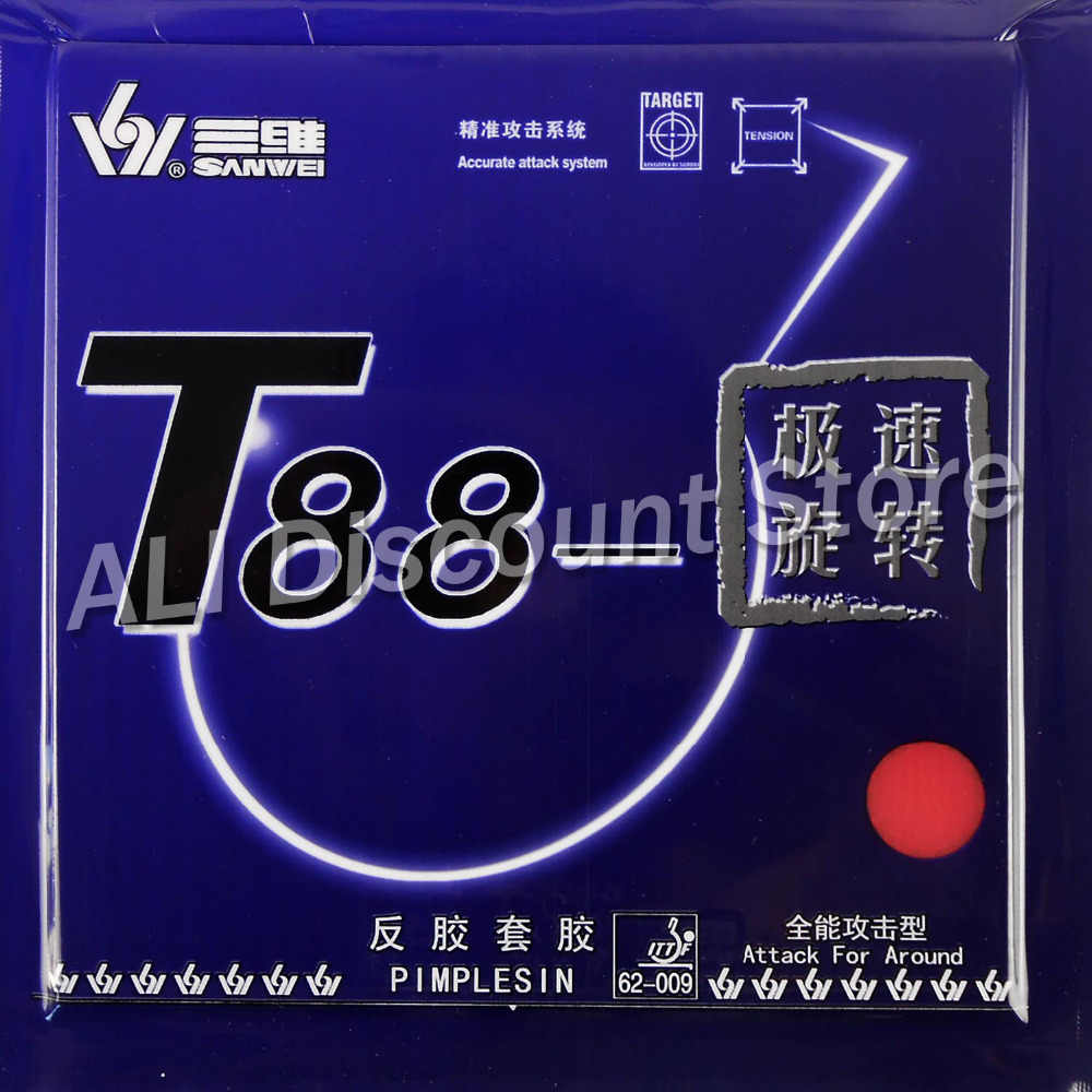 Sanwei T88 Top Speed Training Pips-in Table Tennis Rubber With Sponge