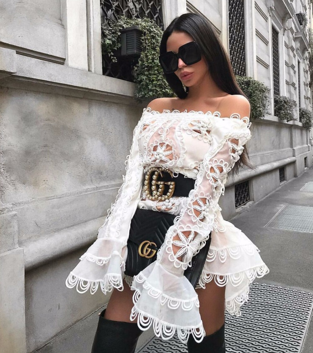 2019 Sexy A-Line Dress Square Neck Chic Celebrity Party Black White Dresses New Spring Women Print Mesh Dress Wholesale Vestidos