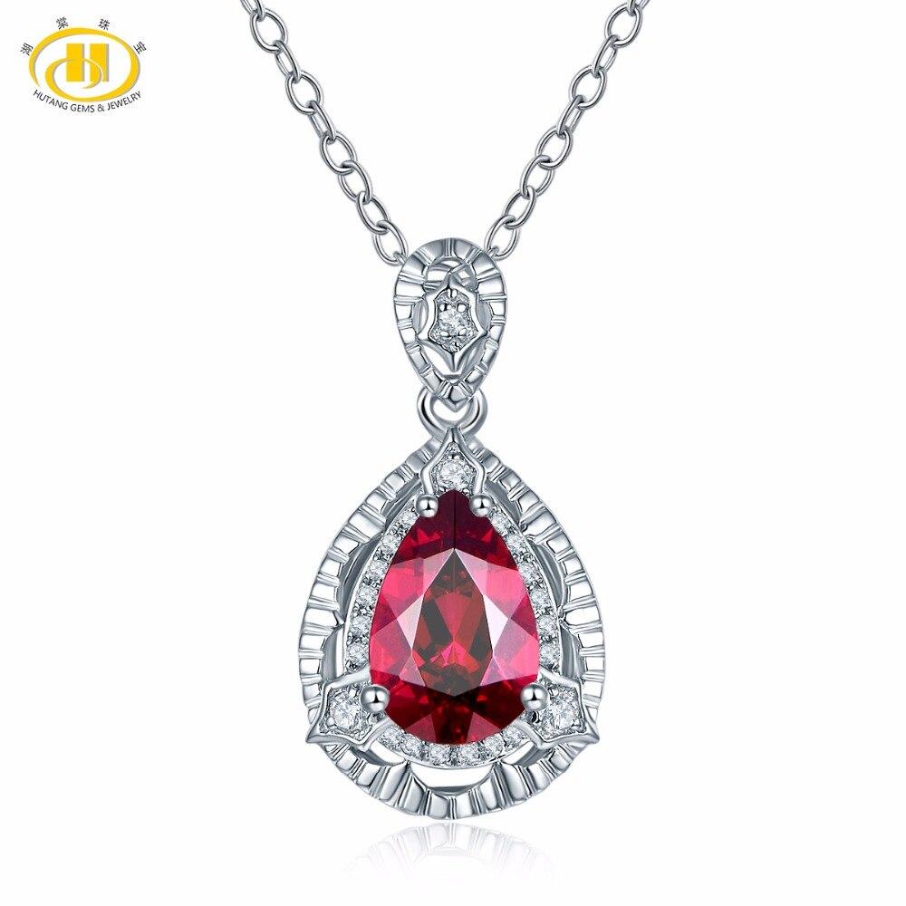 Hutang 1.75ct Natural Gemstone Rhodolite Garnet Zircon Necklace 925 Sterling Silver Necklaces & Pendants For Women Fine Jewelry