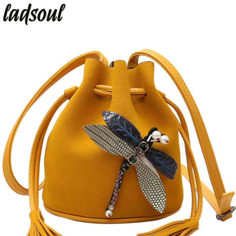 LADSOUL Bucket Ladies Clutches Tote Dragonfly Cross-body Bags For Women 2018 Women Messenger Bags Good Quality Women Bag A1358/g