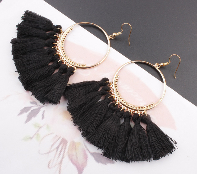 LZHLQ Tassel Earrings For Women Ethnic Big Drop Earrings Bohemia Fashion Jewelry Trendy Cotton Rope Fringe Long Dangle Earrings 5