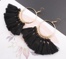 Tassel Earrings For Women Ethnic Big Drop Earrings Bohemia Fashion Jewelry Trendy Cotton Rope Fringe Long Dangle Earrings