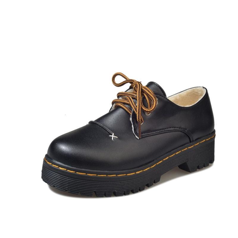 Student Shoes College Girl Warm Shoes Uniform Shoes PU Leather Vintage Style Platform Shoes