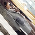Классический высокое качество натурального меха фокс свободные завышение серый двухсторонний шерстяное пальто женщины длинные мантии куртка 2016 новый осень зима