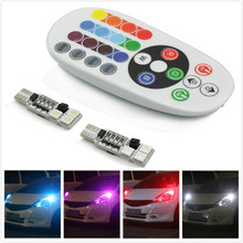 цена на 2pcs T10 LED RGB 194 W5W CANBUS Car Clearance Light  for For Ford Focus 2 3 4 Fiesta mk2 mk3 Mondeo Kuga Ecosport Edge Fusion