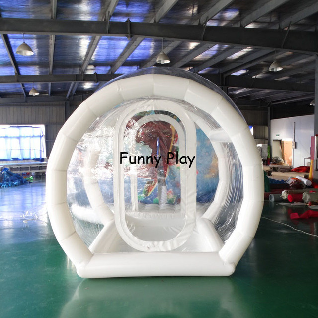 customized make inflatable snow globe bubble ball for sale, clear inflatable snow ball with tunnel for christmas