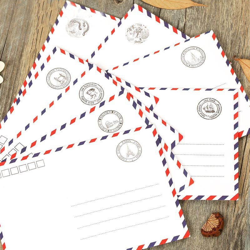 MQStyle 1Pcs Airmail Envelopes White 8 Pattern Creative Novel And Lovely Stationery Romantic Style Gift H0105