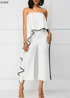 SUWA Hot design rompers women jumpsuit fashion ruffles full length sexy jumpsuit strapless bodysuit body mujer L5134