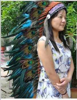 36 นิ้ว Turquoise Feather headdress handmade feather เครื่องแต่งกาย feather หมวก headpiece headband
