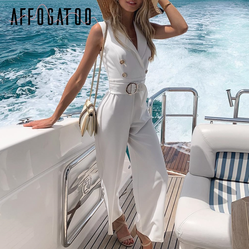 Affogatoo Sexy v-neck double breasted white   jumpsuit   women Casual sash ladies romper Elegant sleeveless office wide leg   jumpsuit