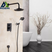 European Style Single Handles 8 Rainfall Shower Set Faucet Concealed Shower Mixers With Handshower Antique Brass