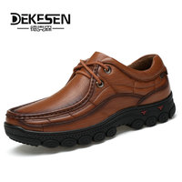 Dekesen New Classic British Casual Patent 100 Genuine Leather Men Shoes Black Walking Shoes Men Flats