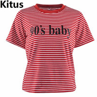 Women Striped T Shirt Summer O Neck Print Letters Tshirt Ladies Casual Harajuku Tops S M