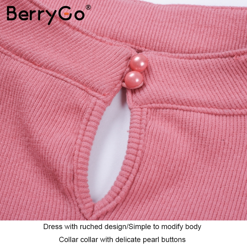 6bc34e64402c5 BerryGo Sexy halter v neck winter sweater dress women Long sleeve ruched  black bodycon dress female Chic party dress autumn 2017-in Dresses from ...