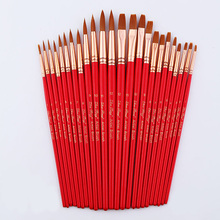 24Pcs Paint Brushes Set Nylon Hair Wooden Handle Painting Brush Variety Style Short Rod Oil Acrylic Watercolor Pen Art Sup
