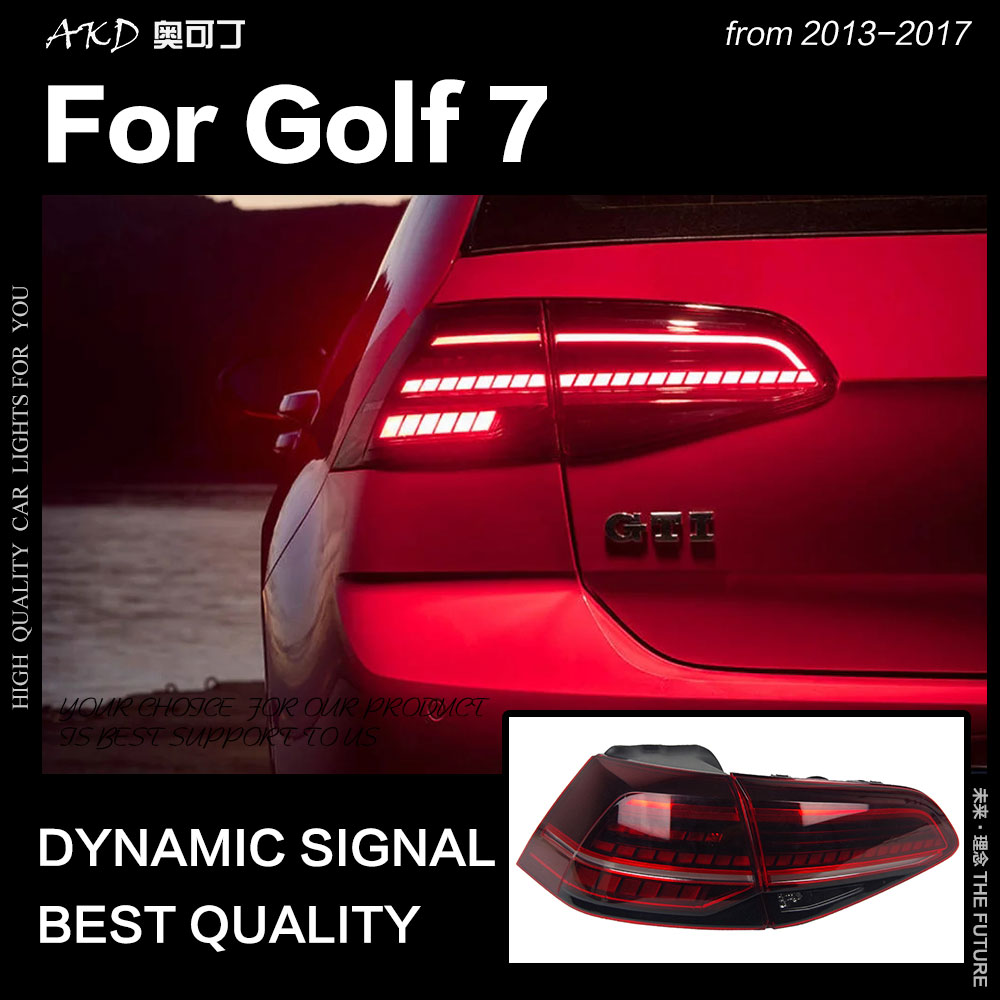 AKD Car Styling for VW <font><b>Golf</b></font> 7 Tail <font><b>Lights</b></font> 2013-2017 Golf7 Mk7 <font><b>LED</b></font> Tail Lamp <font><b>LED</b></font> DRL Dynami Signal Brake Reverse auto Accessories image