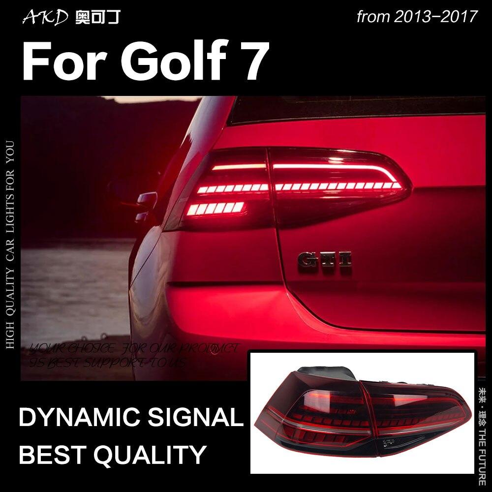 AKD Car Styling per VW Golf 7 Luci di Coda 2013-2017 Golf7 Mk7 HA CONDOTTO LA Lampada di Coda LED DRL Dinamicamente segnale di Inversione del Freno Accessori auto