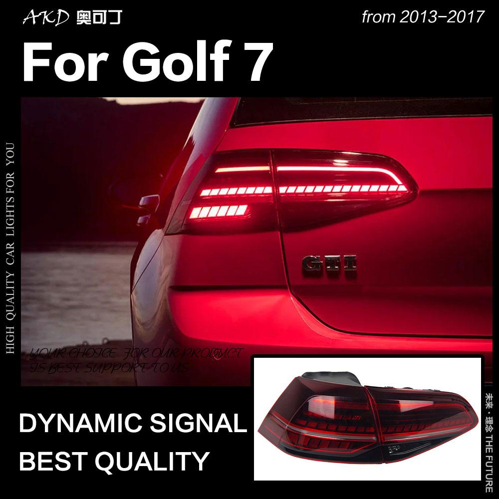 AKD Styling De Voiture pour VW Golf 7 Feux Arrière 2013-2017 Golf7 Mk7 LED Queue Lampe LED DRL Dynamiquement signal De Frein N ° auto Accessoires
