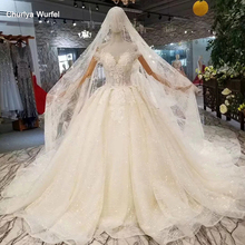 LSS345 sweetheart wedding gowns give a veil with crystal  headwear off the shoulder lace up back wedding dresses 2020 ball gown