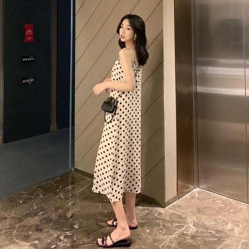 Пикантные Для женщин v-образным вырезом платье свободные длинные платья без рукавов Слинг горошек Макси женское платье