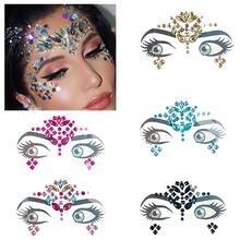 3D кристальная Алмазная наклейка для лица, музыкальный фестиваль, вечерние, сделай сам, украшения для лица, временная татуировка, акриловая смола, сверло, блестящая наклейка для тела