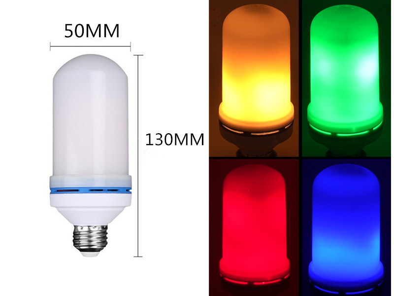 LED E26 E27 AC85V~265V red blue green yellow 7W LED Flame Effect Fire Light Bulb SMD 2835 Flickering Emulation LED Flame Lamp купить в Москве 2019