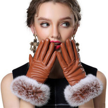Autumn Gloves Women Genuine Rabbit Fur PU Leather Warm Gloves Black Mittens Winter Ladies Full Palm Touched Velvet Ladies G037