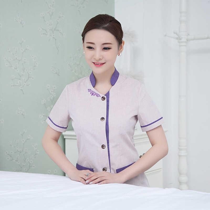 Летняя одежда для уборки с коротким рукавом, спецодежда, однобортный Повседневный пиджак для уборки мужчин и женщин