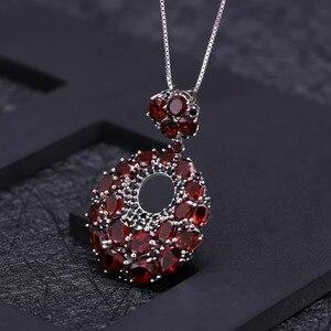 Image 2 - GEMS BALLET Natural Red Garnet Gemstone Vintage 925 Sterling Sliver Pendant Necklace For Women Gift Party Jewelry