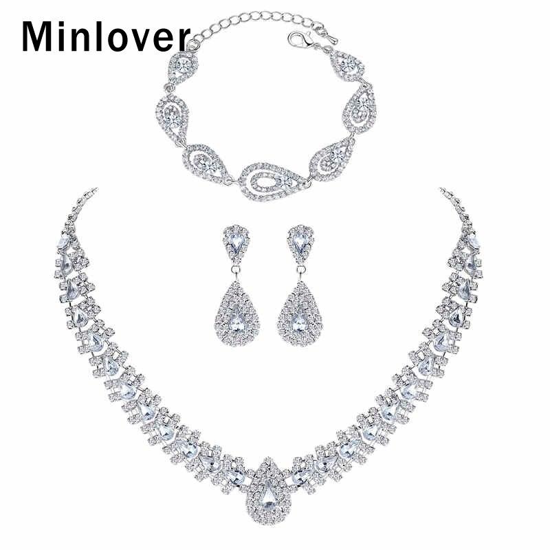 Minlover Wedding-Jewelry-Sets Necklace-Set Bracelet Rhinestone Earrings Crystal Bridal