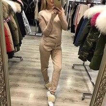 Осень-зима, Новое высококачественное женское кашемировое платье, костюм с длинным рукавом, свитер, штаны, вязанный, два предмета