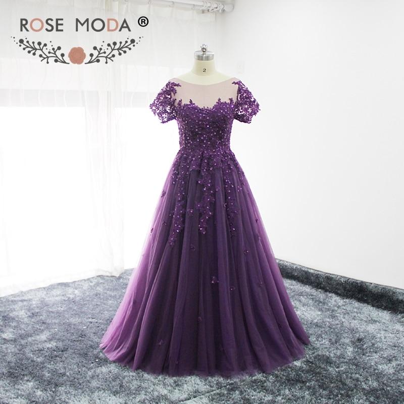 Rose Moda Short Sleeves Purple Evening Dress Illusion Back Floor Length Lace Evening Dresses Formal Party Dress 2018