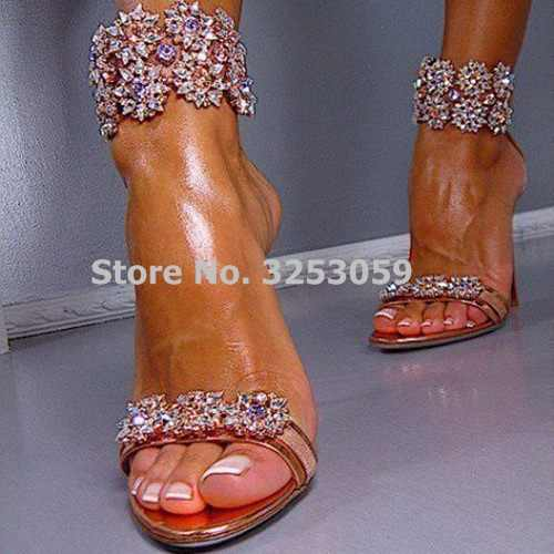 ALMUDENA Gorgeous Gold Red Cut-out Bling Bling Crystal Strap Wedding High  Heel Sandals Purple 239195ca760a