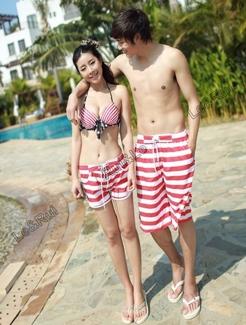 bd12ebd58b white red striped couple lover beach surf board summer swim sports shorts  for women men couples lovers pants shorts clothes X28