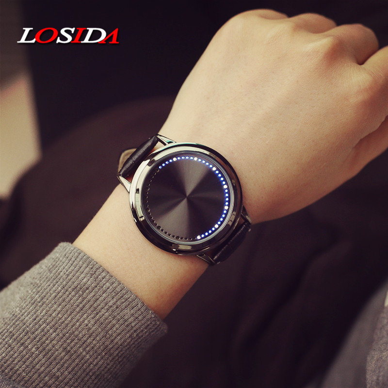 Losida Normal Waterproof Minimalist Smart Watch Leather Creative Personality Tree Women Watch Electronics Touch Men LED Watches