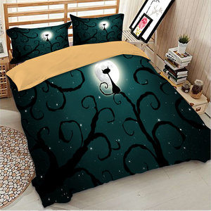 Image 4 - Wongs Bedding 3d Cat moon night Bedding set polyester Duvet Cover Bed Set Twin queen king size home textile